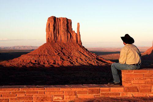 Cowboy bij Monument Valley