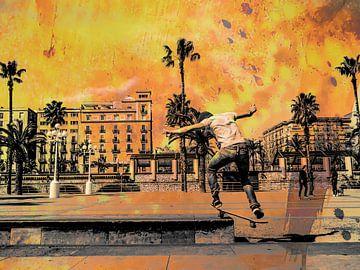 Skater in vuur en vlam van Marcel van Berkel
