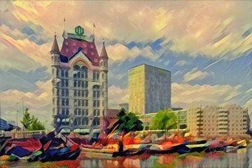 Sfeervol schilderij Rotterdam: Sprookjesachtig Witte Huis Rotterdam van Slimme Kunst.nl