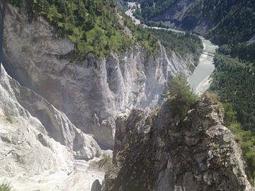 Slingerende Rijn door het Zwitsers landschap(Rijnkloof) van Patsy Van den Broeck