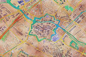 Kleurrijke kaart van Zwolle