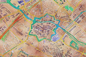 Kleurrijke kaart van Zwolle van Stef Verdonk