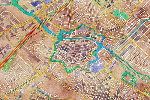 Kleurrijke kaart van Zwolle van