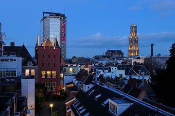 Stadsgezicht van Utrecht met Stadskasteel Oudaen, Neudeflat en Dom van Donker Utrecht