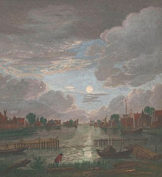 Blick auf einen Kanal in der Nähe von Haarlem, Pierre François Basan