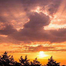 Panorama van een prachtige zonsopkomst op Goeree Overflakkee van Louise Poortvliet