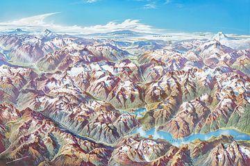 Carte des Cascades du Nord (avec étiquettes), Heinrich Berann sur Creatieve Kaarten