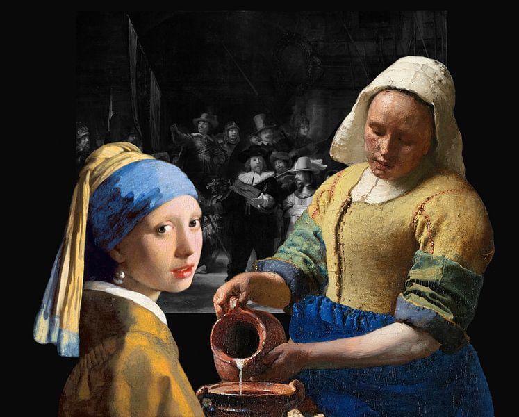 Melkmeisje - Meisje met de parel - de Nachtwacht zwart-wit van Lia Morcus