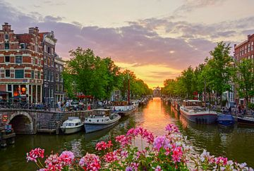 Zonsondergang in Amsterdam van
