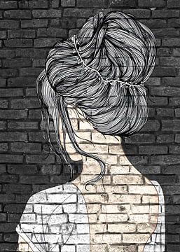 Hübsches Mädchen mit Dutt Graffiti von KalliDesignShop