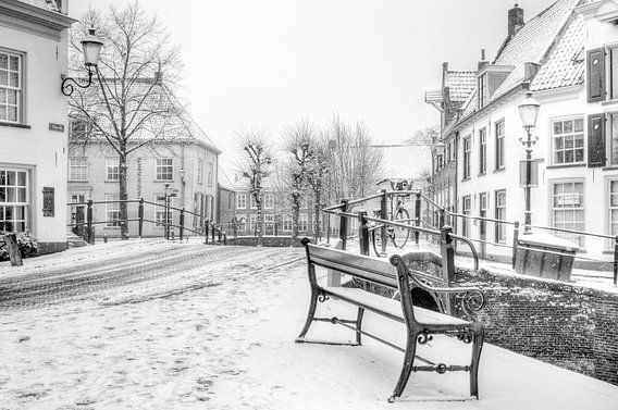 Winter op het Havik in historisch Amersfoort zwartwit