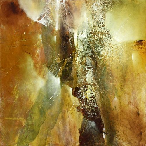 Abstrakte Komposition in grün und braun van