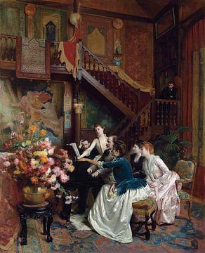 Versammlung um eine Partitur, Charles Baude
