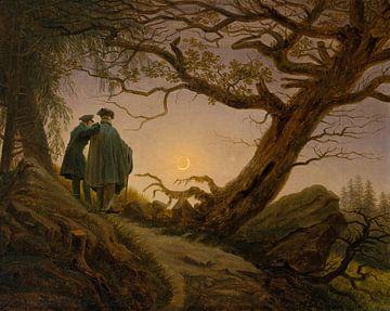 Caspar David Friedrich - Two Men Contemplating the Moon sur
