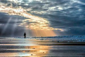 lopend langs de noordzeekust