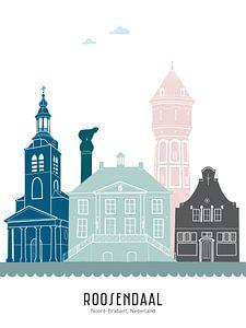 Skyline illustratie stad Roosendaal in kleur van Mevrouw Emmer