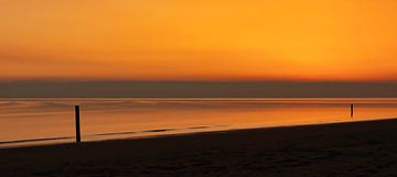Panorama Rockanje strand zonsondergang van Marjolein van Middelkoop