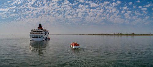 Cruiseschip Hanseatic voor Oudeschild Texel sur