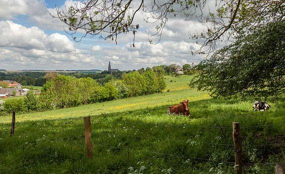 Uitzicht op Vijlen  in Zuid-Limburg tijdens de Lente