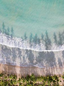 Playa Bonita van bovenaf | Reisfotografie Las Terrenas Dominicaanse republiek van Raisa Zwart