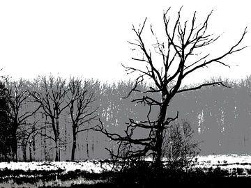 Paysage noir et blanc moderne sur Jacqueline Gerhardt