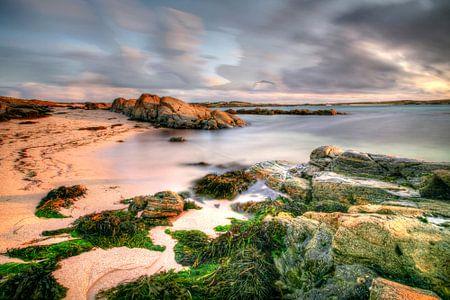 Iers strand in de avondzon