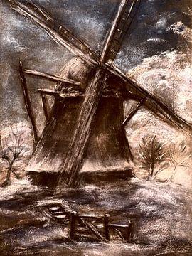 Hollandse molen in de sneeuw. van Ineke de Rijk