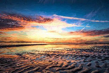 Sonnenuntergang von einer Seenlandschaft im Digital-Kunst von eric van der eijk