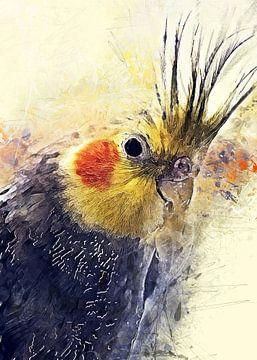 Wellensittich Vogel Aquarell Kunst #budgie von JBJart Justyna Jaszke