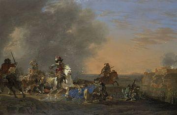 Attaque de cavalerie au coucher du soleil, Jan Asselijn sur