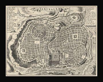 Alte Karte von Jerusalem von etwa 1682 von Gert Hilbink