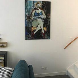 Klantfoto: De Dame van de Kat van Joachim G. Pinkawa, op canvas