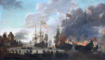 Niederländer setzten englische Schiffe bei Chatham in Brand, 20. Juni 1667, Jan van Leyden, 1667 - 1