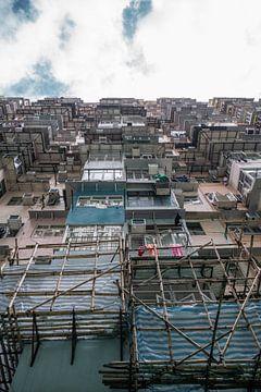 Terrasse avec des étagères en bambou sur Mickéle Godderis