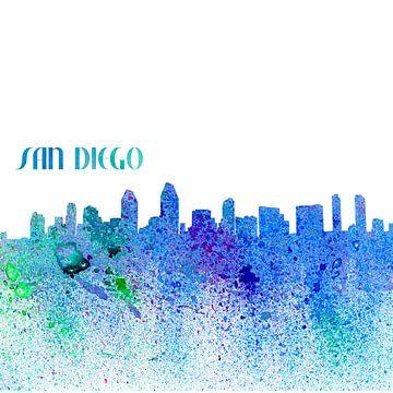 San Diego California Skyline Silhouette Impressionistisch van Markus Bleichner