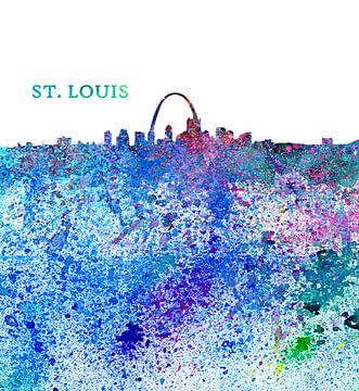 St. Louis Missouri Skyline Silhouette Impressionistisch van Markus Bleichner
