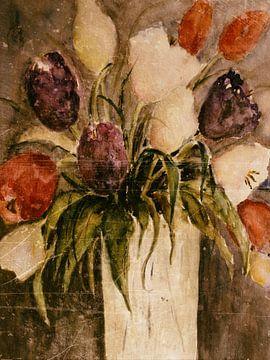 Kleurrijk boeket van tulpen in de vaas van Christine Nöhmeier