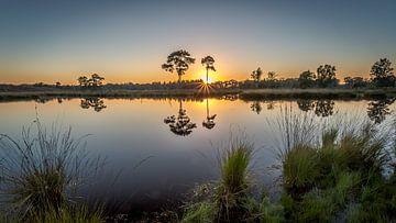 Zonsondergang in spiegelbeeld van Richard Reuser