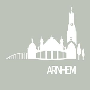 Arnheims Skyline und berühmte Gebäude weiß mit sanftem Grün