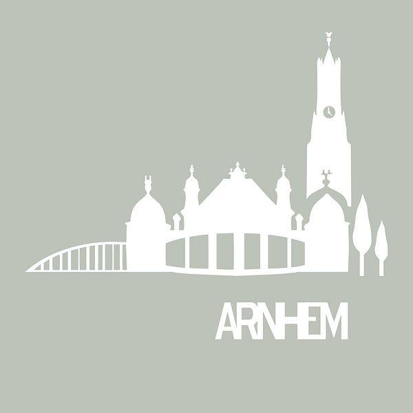 Arnheims Skyline und berühmte Gebäude weiß mit sanftem Grün von Anne Dellaert