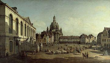 Bernardo Bellotto oder Canaletto, Blick auf den Neumarkt in Dresden vom Jüdenhof aus - 1749