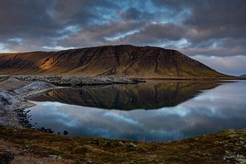Een meer tussen de lavavelden op IJsland van Melissa Peltenburg