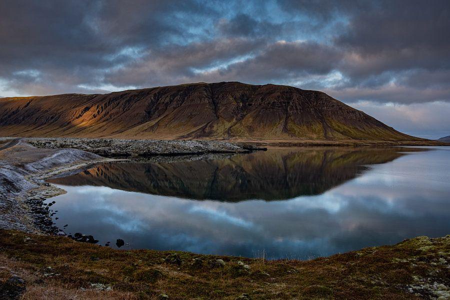Een meer tussen de lavavelden op IJsland
