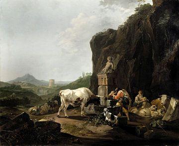 Herder en zijn familie bij de bron, Johann Heinrich Roos... van