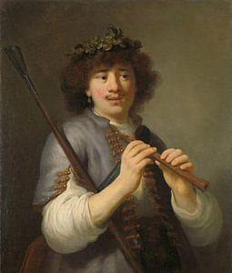 Rembrandt als herder met staf en fluit van