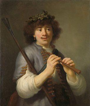 Rembrandt als Schäfer mit Hirtenstab und Flöte