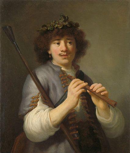 Rembrandt als herder met staf en fluit van Marieke de Koning