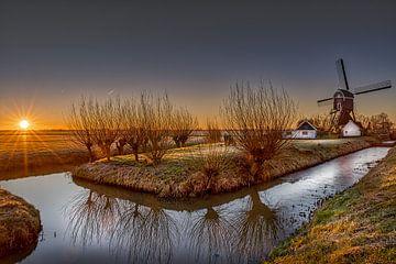 Lever du soleil dans le polder de Herwijnse sur Rene Siebring