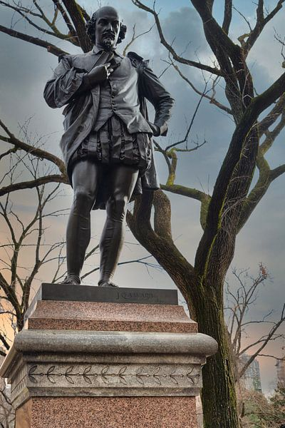 William Shakespeare standbeeld (door John Quincy Adams Ward) staande in Central park New York stad d van Mohamed Abdelrazek