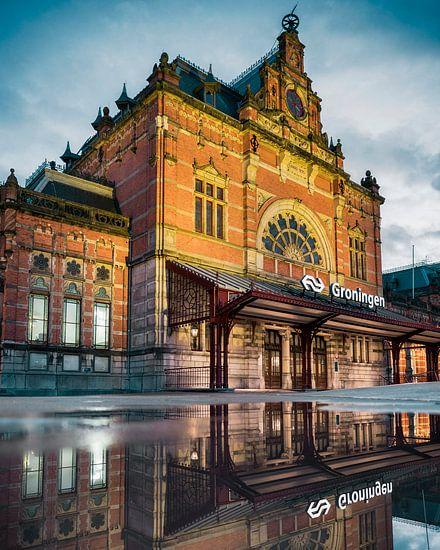 Hoofdstation Groningen na zonsondergang